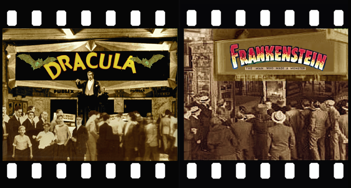 DRACULA AND FRANKENSTEIN THEATER AND CROWD IN FILMS FRAME 2