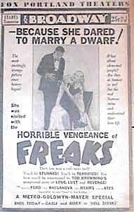 FREAKS - BROADWAY THEATER - NEWSPAPER AD