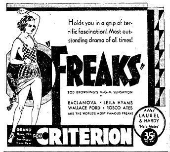 FREAKS - CRITERION THEATER - NEWSPAPER AD