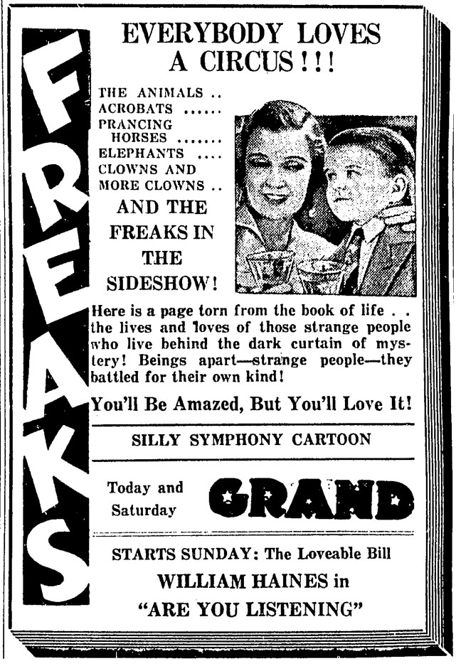 FREAKS - GRAND THEATER - NEWSPAPER AD