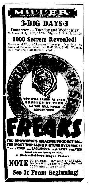 FREAKS - MILLER THEATER - NEWSPAPER AD