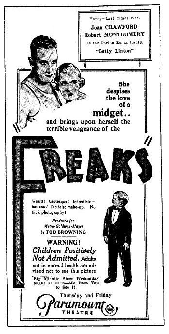 FREAKS - PARAMOUNT THEATER THEATER - NEWSPAPER AD