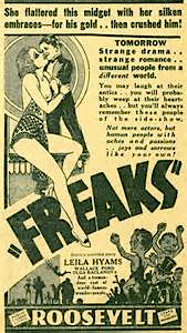 FREAKS - ROOSEVELT THEATER - NEWSPAPER AD